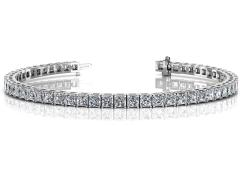 14KT White Gold 6.8ct G-H SI2/SI2 4 Prong Tennis Bracelets
